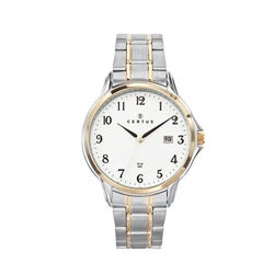 Certus Paris two-tone stainless steel men's white dial date watch