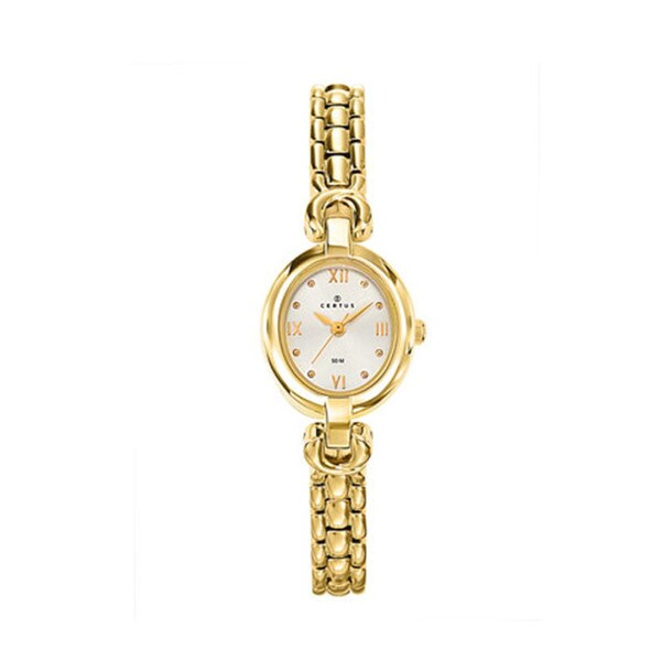 Certus Paris women's oval gold tone brass white dial watch
