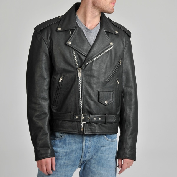 Vintage style leather motorcycle jacket