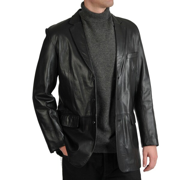 Excelled Men's Lamb Leather 3-Button Blazer