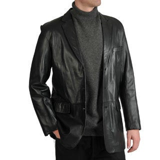 Excelled Men's Lamb Leather 3-Button Blazer