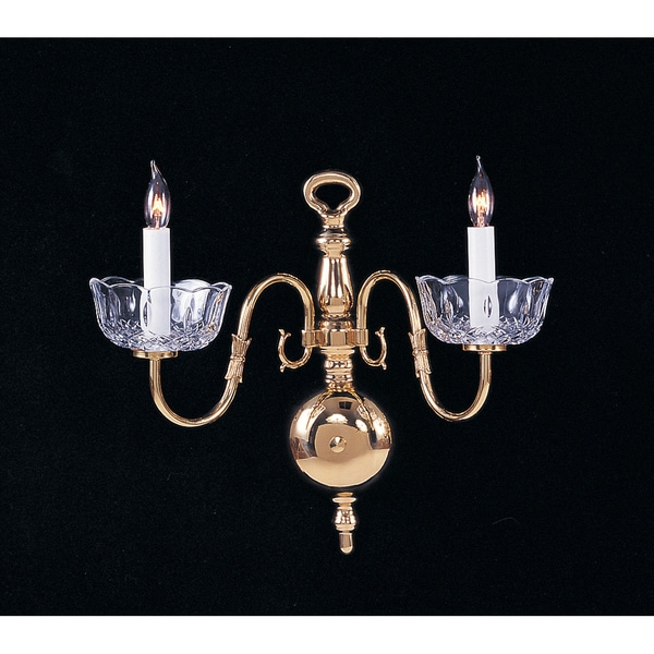 Crystorama Colonial Collection 2-light Polished Brass Wall Sconce