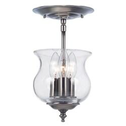 Crystorama Ascott Collection 3-light Pewter Semi-flush Mount