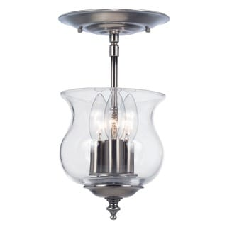 Crystorama Ascott Collection 3-light Pewter Semi-flush Mount