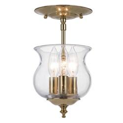 Crystorama Ascott Collection 3-light Polished Brass Semi-flush Mount