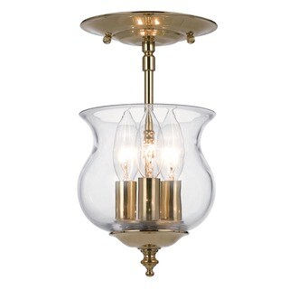 Crystorama Ascott Collection 3-light Polished Brass Semi-flush Mount