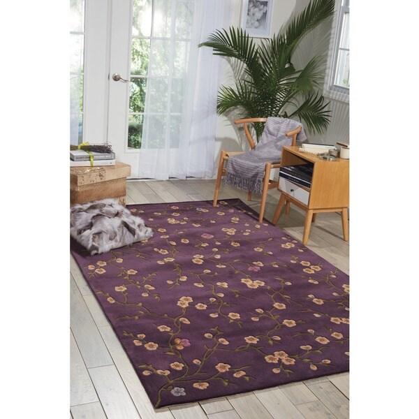 Nourison Hand-tufted Julian Floral Purple Rug (7'6 x 9'6)