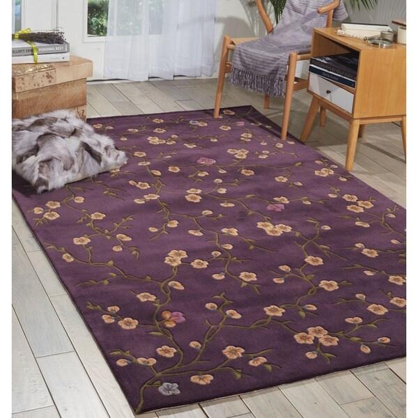 Nourison Hand-tufted Julian Floral Purple Rug (5'3 x 8'3) - 5'3 x 8'3