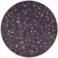 Nourison Hand-tufted Julian Floral Purple Rug (6' Round) - 6'