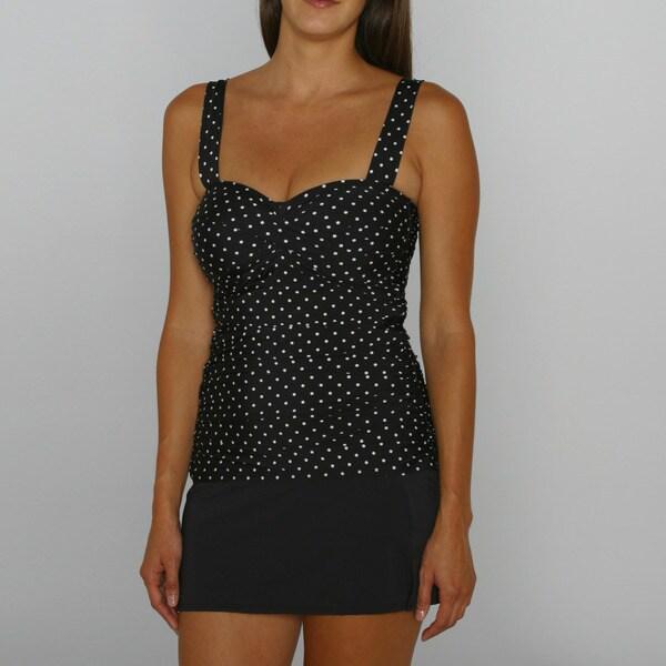 Jantzen Women's Pretty Pin Dot Tankini Top and Black Swim Mini Bottom