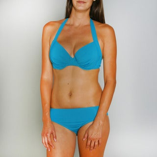 Jantzen Women's Underwire Bra Bikini Top and High Waist Turquoise Bottom