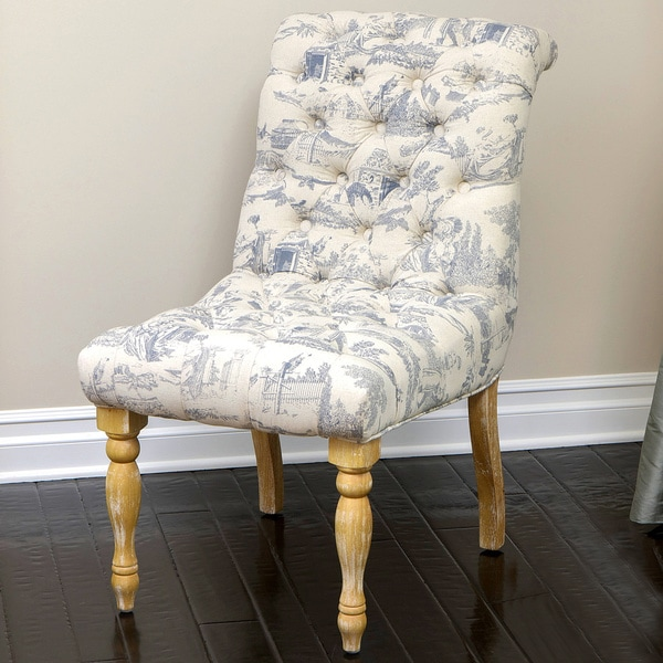 White Fabric Dining Room Chairs: Shop Euro Tufted Blue And White Fabric Dining Chair By