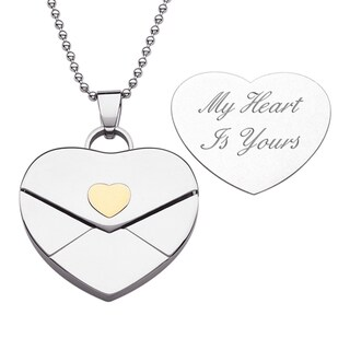 Stainless Steel Heart Envelope Necklace