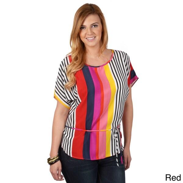 Tressa Designs Women's Contemporary Plus Striped Tie-Waist Top