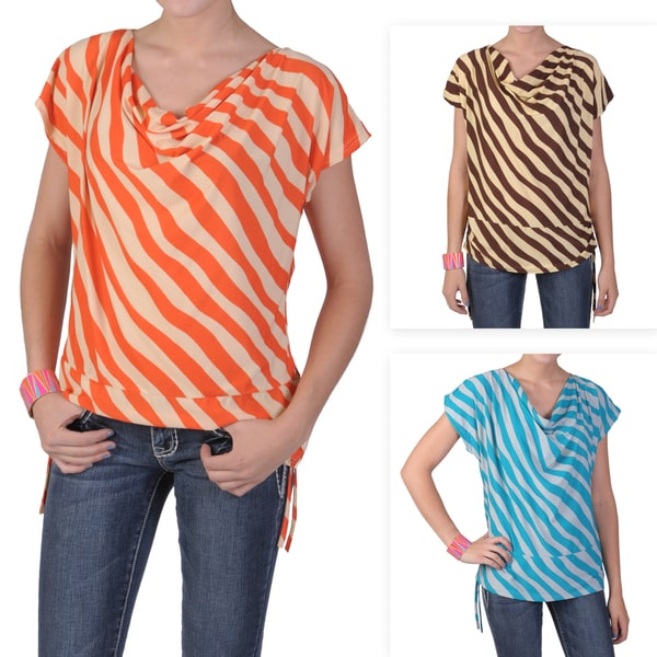 Tressa Designs Women's Contemporary Plus Size Striped Short-sleeve Top