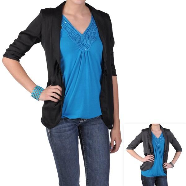 Journee Collection Women's Lightweight Half-sleeve Fitted Jacket