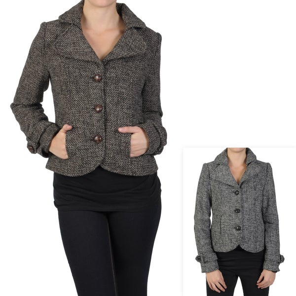 Journee Collection Juniors Buttoned Short Herringbone Tweed Coat