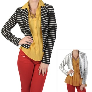 T by Hailey Jeans Co. Women's Long Sleeve Striped Fitted Jacket