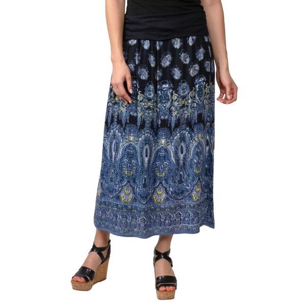Journee Collection Juniors Banded Waist Paisley Print Maxi Skirt