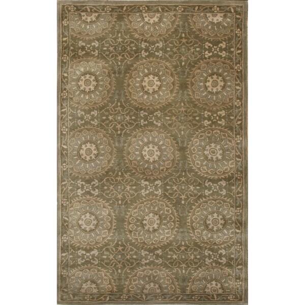 Handtufted Mala Green Wool Rug (5 x 8)