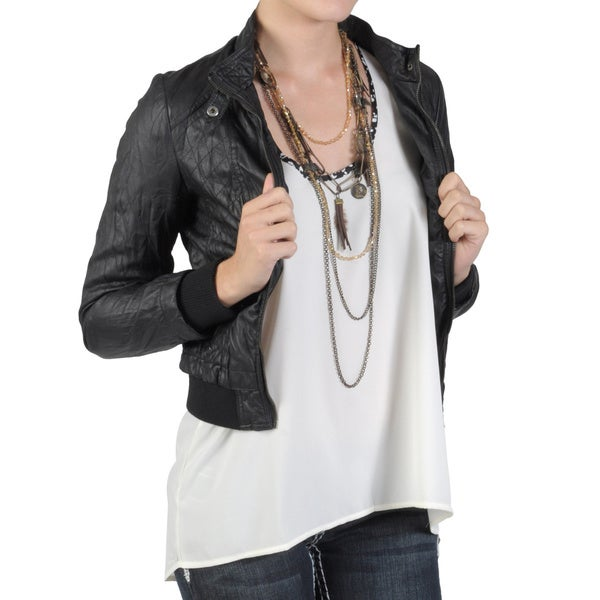 Journee Collection Junior's Crinkled Zippered PVC Leather Jacket