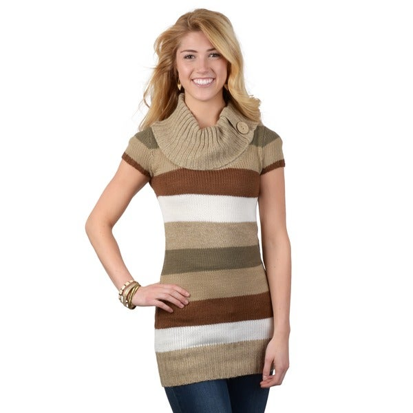 Journee Collection Juniors Striped Cowl Neck Short-sleeve Tunic
