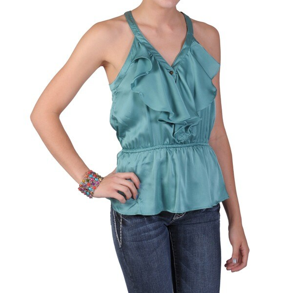 Journee Collection Juniors Ruffled V-neck Sleeveless Top
