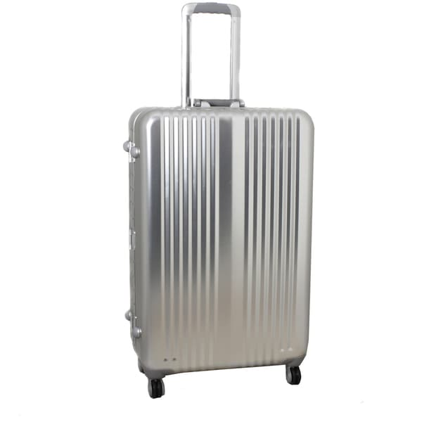 World Traveler Silver Bullet 24-inch Silver Aluminum Spinner Upright Luggage with TSA Locks