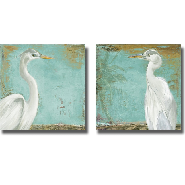 Patricia Pinto 'Tropic Heron I and II' Large Two-Piece Canvas Art Set
