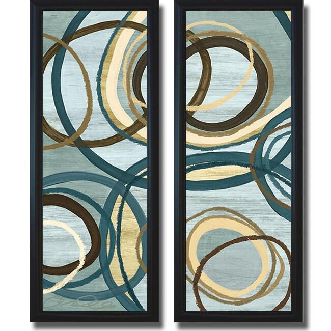 Jeni Lee 'Tuesday Blue Panel I and II' Framed 2-piece Canvas Art Set