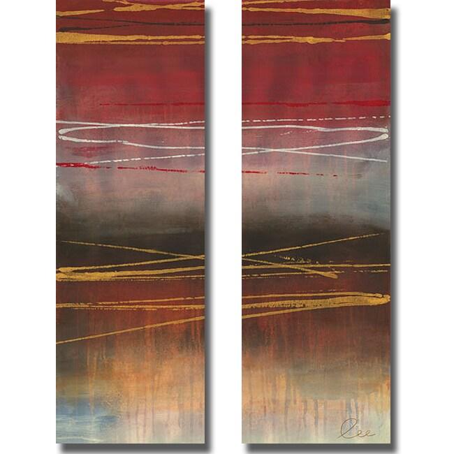 Jeni Lee 'Gold Rush Panel I and II' 2-piece Canvas Art Set