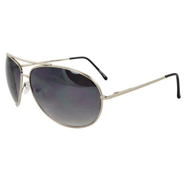 Unisex Metal-Framed Silver Aviator Sunglasses