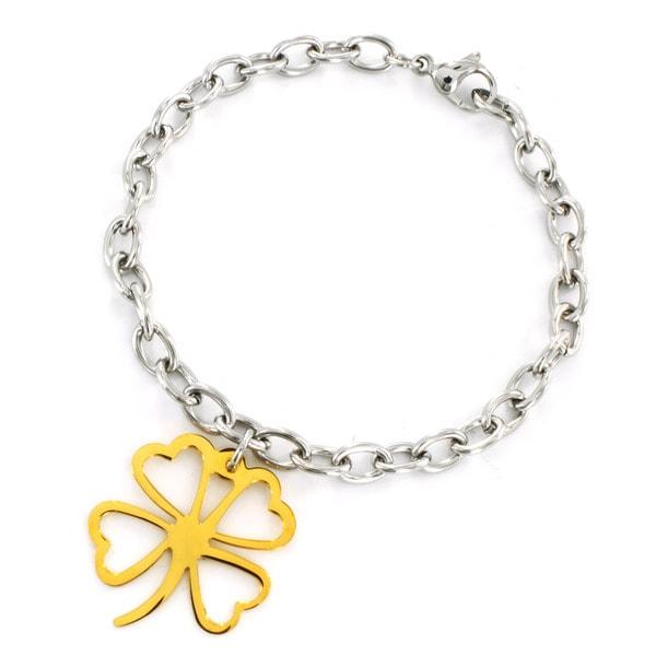 Elya Designs Stainless Steel Four Leaf Clover Charm Bracelet