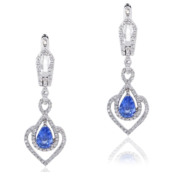 Annello by Kobelli 18k White Gold Blue Sapphire and 2/5ct TDW Diamond Dangling Earrings (