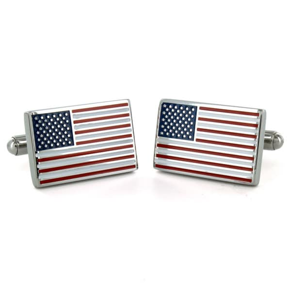 West Coast Jewelry Stainless Steel American Flag Cuff Links