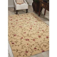 Nourison Hand-tufted Julian Floral Light Gold Rug (7'6 x 9'6)