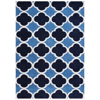 Alliyah Handmade Azure Blue New Zealand Blend Wool Rug (6'x9')