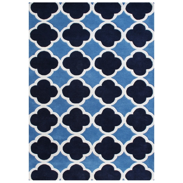 Alliyah Handmade Azure Blue New Zealand Blend Wool Rug (6'x9')