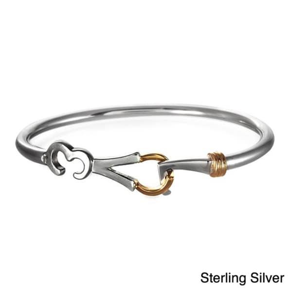 Beverly Madison Gold over Sterling Silver 'LOVE' Bangle Bracelet