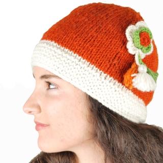 Handmade Drop Flower Bella Hat (Nepal) (Option: Orange)