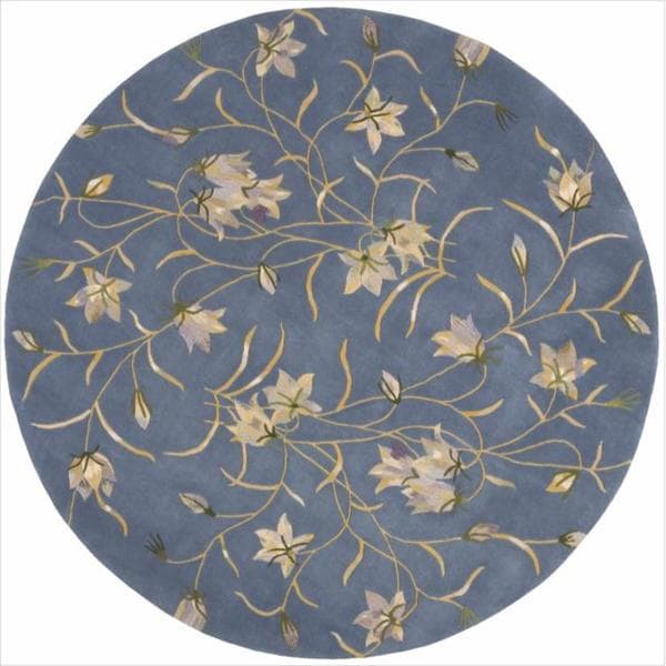Blue And White Circle Rug: Shop Nourison Hand-tufted Julian Floral Light Blue Wool
