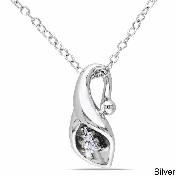 Miadora Sterling Silver Diamond Accent Calla Lily Floral Drop Necklace (G-H, I1-I2)