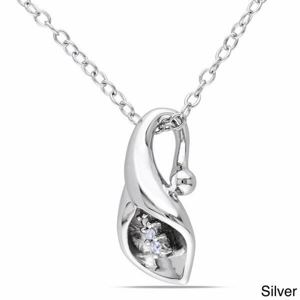 Miadora Sterling Silver Diamond Accent Calla Lily Floral Drop Necklace