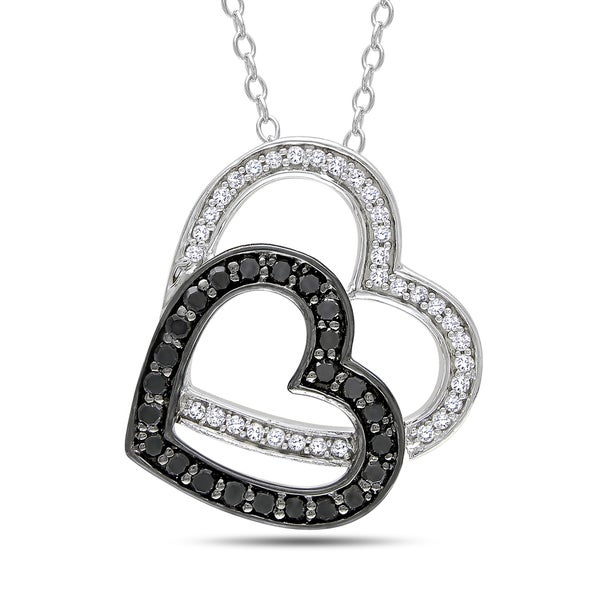 Sterling Silver 1/3ct TDW Black and White Diamond Necklace