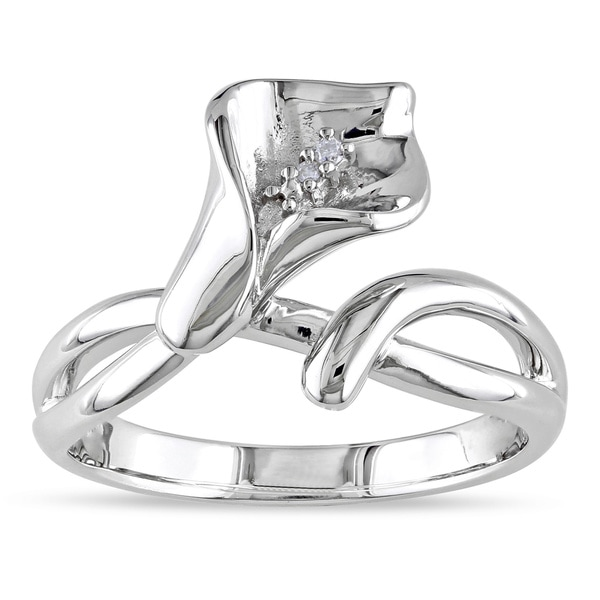 Miadora Sterling Silver Diamond Accent Calla Lily Flower Split Shank Ring (G-H, I1-I2)
