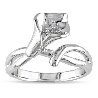 Miadora Sterling Silver Diamond Accent Calla Lily Flower Split Shank Ring (More options available)