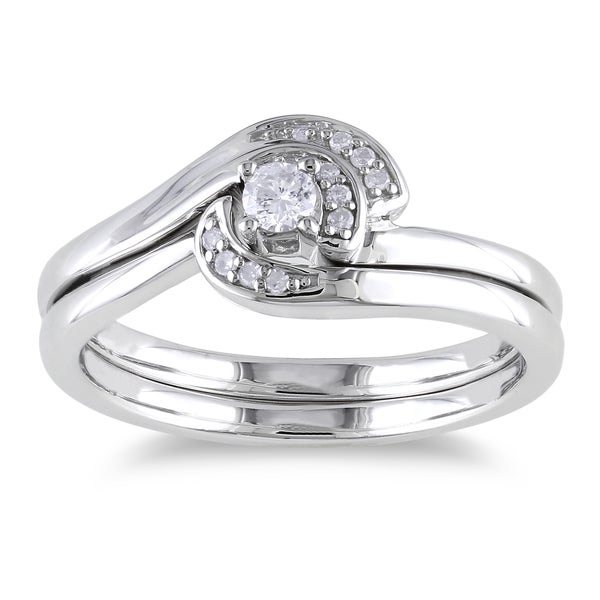 Miadora Sterling Silver 1/6ct TDW Diamond Ring Set (H-I, I2-I3)