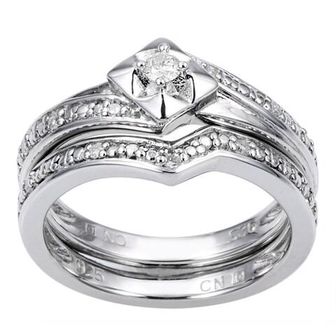 Miadora Sterling Silver 1/10ct TDW Diamond Bridal Set