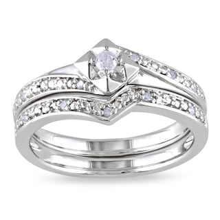 Miadora Sterling Silver 1/10ct TDW Diamond Bridal Set