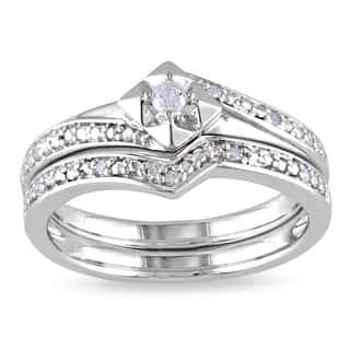 Miadora Sterling Silver 1/10ct TDW Diamond Bridal Set|https://ak1.ostkcdn.com/images/products/7286567/P14761229.jpg?impolicy=medium